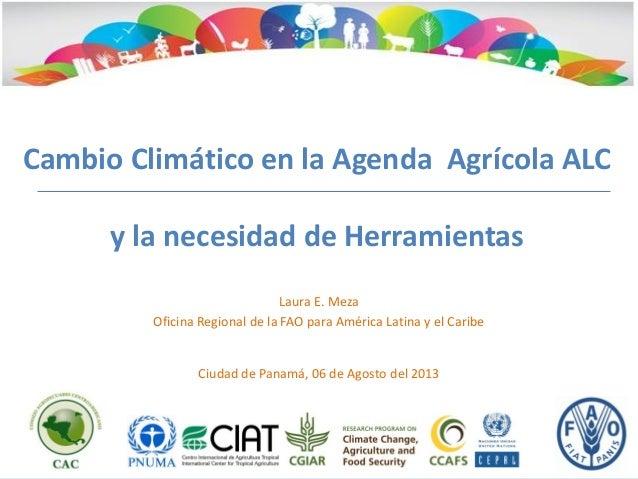 Cambio Climático en la Agenda Agrícola ALC y la necesidad de Herramientas Laura E. Meza Oficina Regional de la FAO para Am...