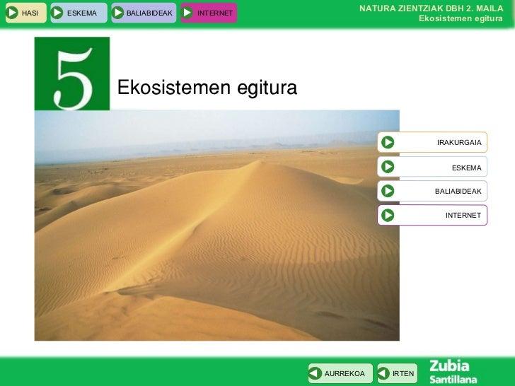 Ekosistemen egitura IRAKURGAIA ESKEMA BALIABIDEAK INTERNET