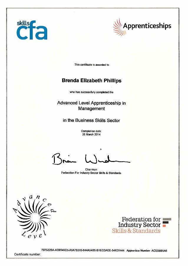Advanced Level Apprenticeship in Management in the Business Skills Sector Certificate