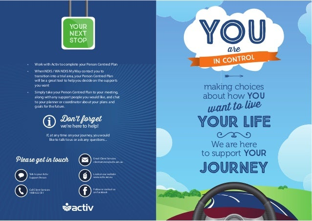 A We are here to support YOUR JOURNEY YOU • Work with Activ to complete your Person Centred Plan • When NDIS / WA NDIS My ...