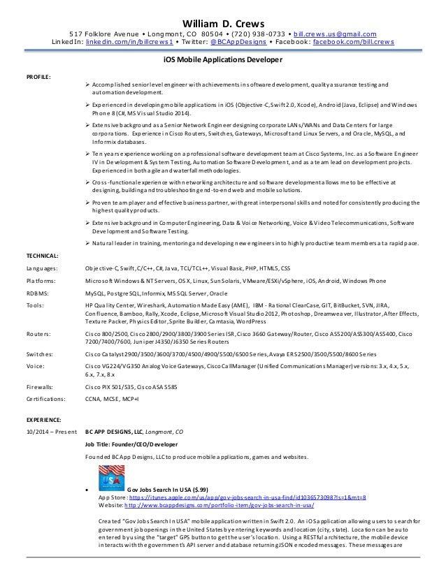 swift developer resume