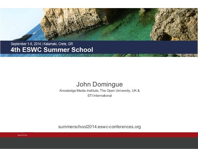 www.sti2.org  John Domingue  Knowledge Media Institute, The Open University, UK &  STI International  summerschool2014.esw...