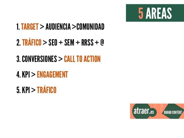 1. TARGET > AUDIENCIA >COMUNIDAD 2. TRÁFICO > SEO + SEM + RRSS + @ 3. CONVERSIONES > CALL TO ACTION 4. KPI > ENGAGEMENT 5....
