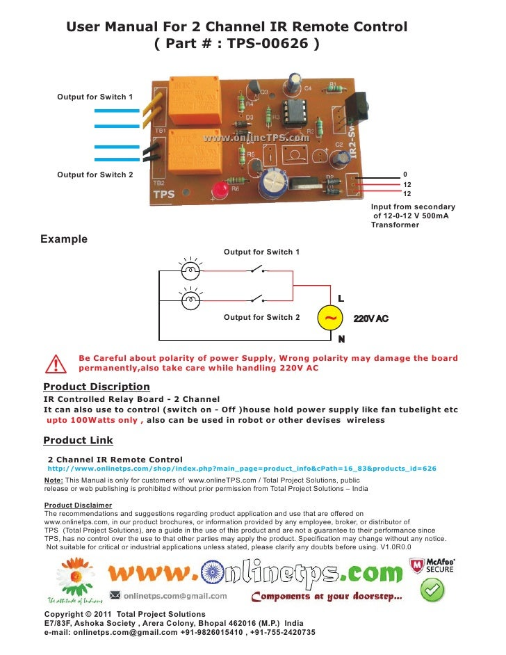 User Manual For 2 Channel IR Remote Control                ( Part # : TPS-00626 )    Output for Switch 1    Output for Swi...