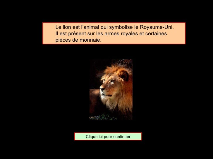 <ul><ul><li>Le lion est l'animal qui symbolise le Royaume-Uni. </li></ul></ul><ul><ul><li>Il est présent sur les armes roy...