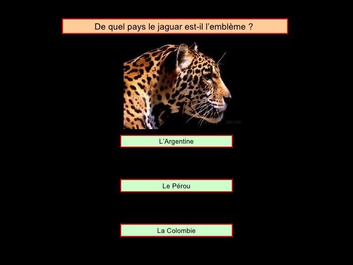 De quel pays le jaguar est-il l'emblème ?  L'Argentine Le Pérou La Colombie