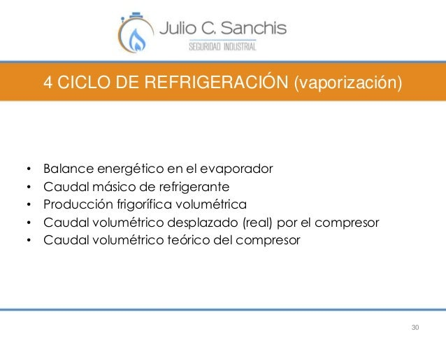 4 CICLO DE REFRIGERACIÓN (vaporización)  • Balance energético en el evaporador  • Caudal másico de refrigerante  • Producc...