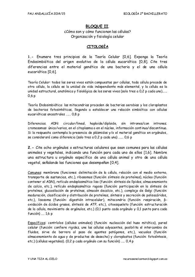 BIOLOGIA PAU Andalucia (2014-15). 2 Citología.