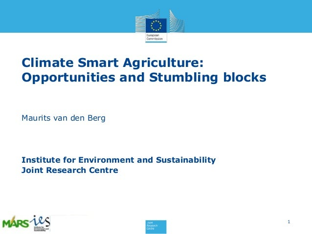 Climate Smart Agriculture: Opportunities and Stumbling blocks Maurits van den Berg  Institute for Environment and Sustaina...