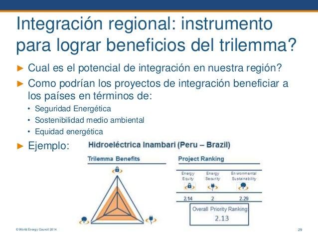 © World Energy Council 2014 Integración regional: instrumento para lograr beneficios del trilemma? ► Cual es el potencial ...