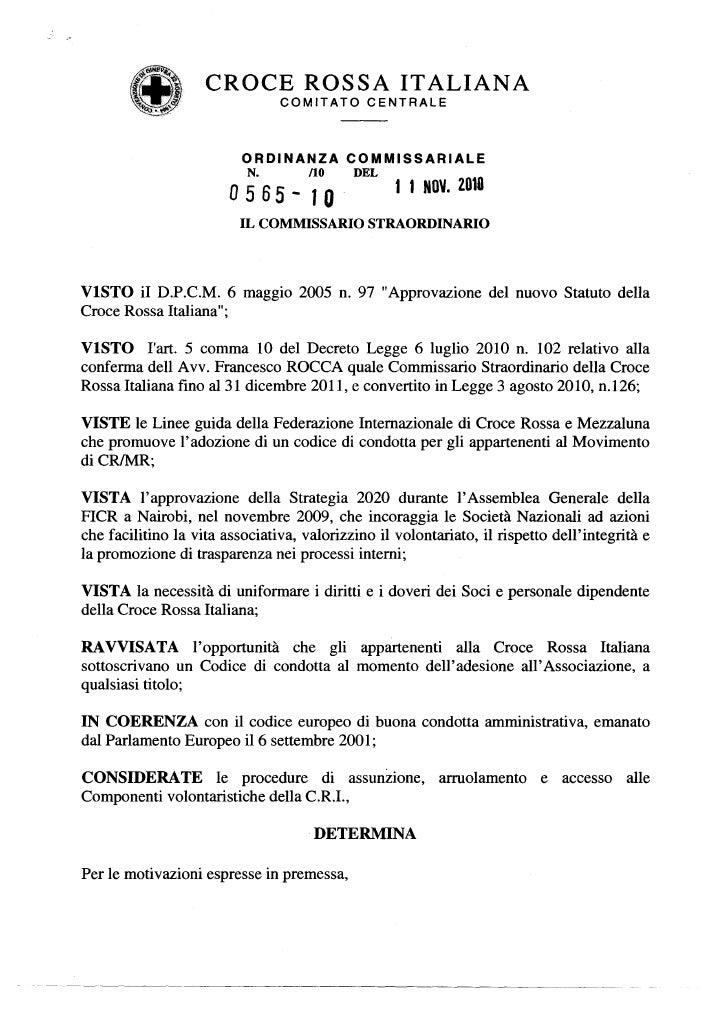 CROCE ROSSA ITALIANA                                COMITATO      CENTRALE                          ORDINANZA        COMMI...