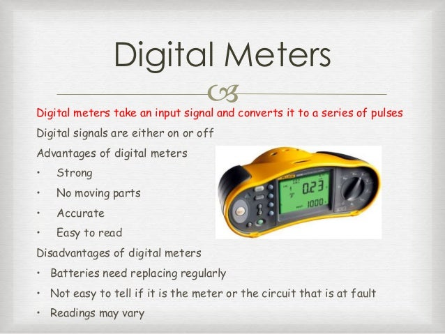 Types Of Electrical Measuring Instruments : Outcome identify appropriate electrical instruments