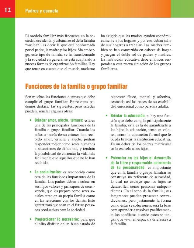 """12 Padres y escuela El modelo familiar más frecuente en la so- ciedad occidental y urbana, es el de la familia """"nuclear"""", ..."""