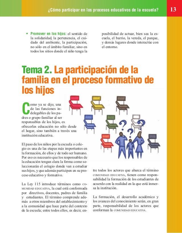 ¿Cómo participar en los procesos educativos de la escuela? 13 • Promover en los hijos: el sentido de la solidaridad, la pe...