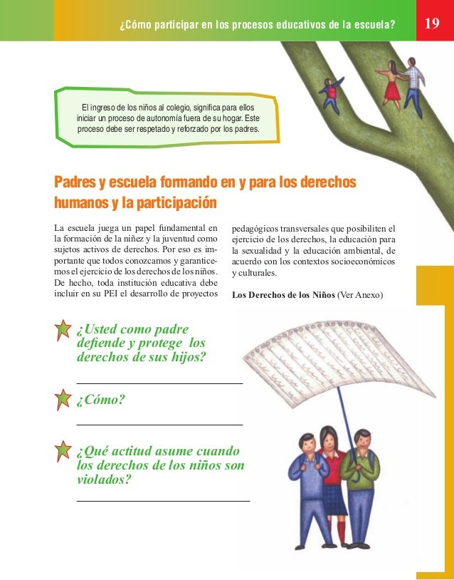 ¿Cómo participar en los procesos educativos de la escuela? 19 El ingreso de los niños al colegio, significa para ellos inic...