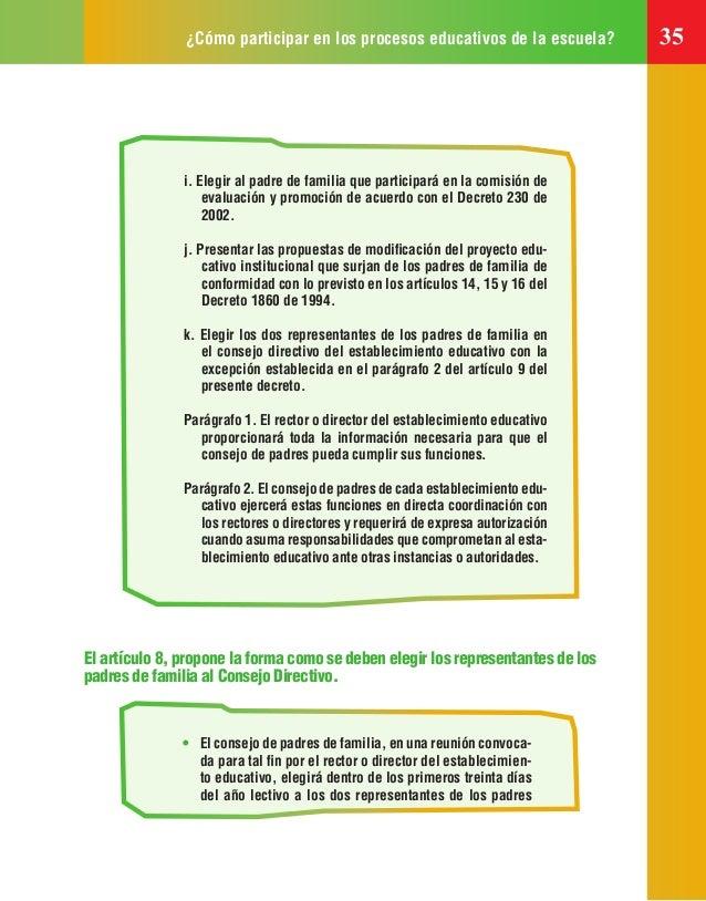¿Cómo participar en los procesos educativos de la escuela? 35 • El consejo de padres de familia, en una reunión convoca- d...