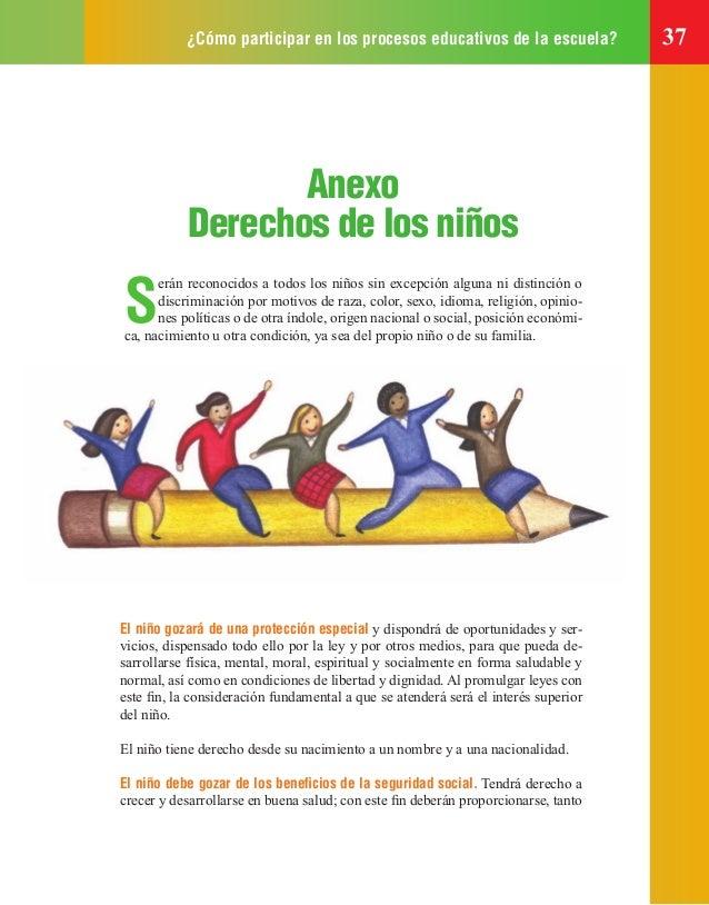 ¿Cómo participar en los procesos educativos de la escuela? 37 Anexo Derechos de los niños S erán reconocidos a todos los n...