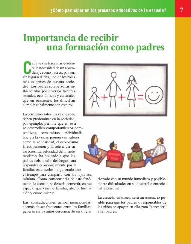 ¿Cómo participar en los procesos educativos de la escuela? 7 Importancia de recibir una formación como padres C ada vez se...