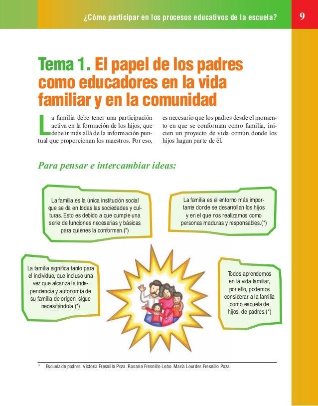 ¿Cómo participar en los procesos educativos de la escuela? 9 Tema 1. El papel de los padres como educadores en la vida fam...