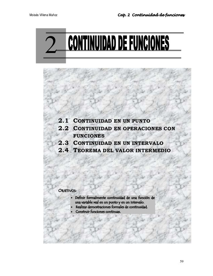 Moisés Villena Muñoz                                     Cap. 2 Continuidad de funciones               2                  ...