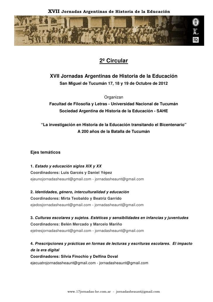 XVII Jornadas Argentinas de Historia de la Educación                                        2º Circular           XVII Jor...