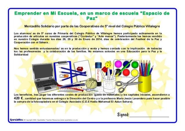 """Emprender en Mi Escuela, en un marco de escuela """"Espacio de Paz"""" Mercadillo Solidario por parte de las Cooperativas de 5º ..."""