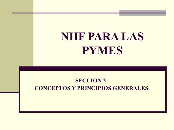NIIF PARA LAS PYMES SECCION 2  CONCEPTOS Y PRINCIPIOS GENERALES