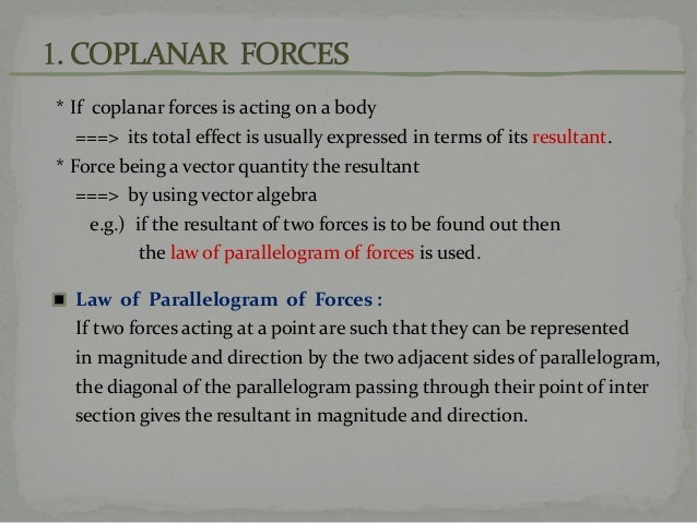 What is coplanar forces?