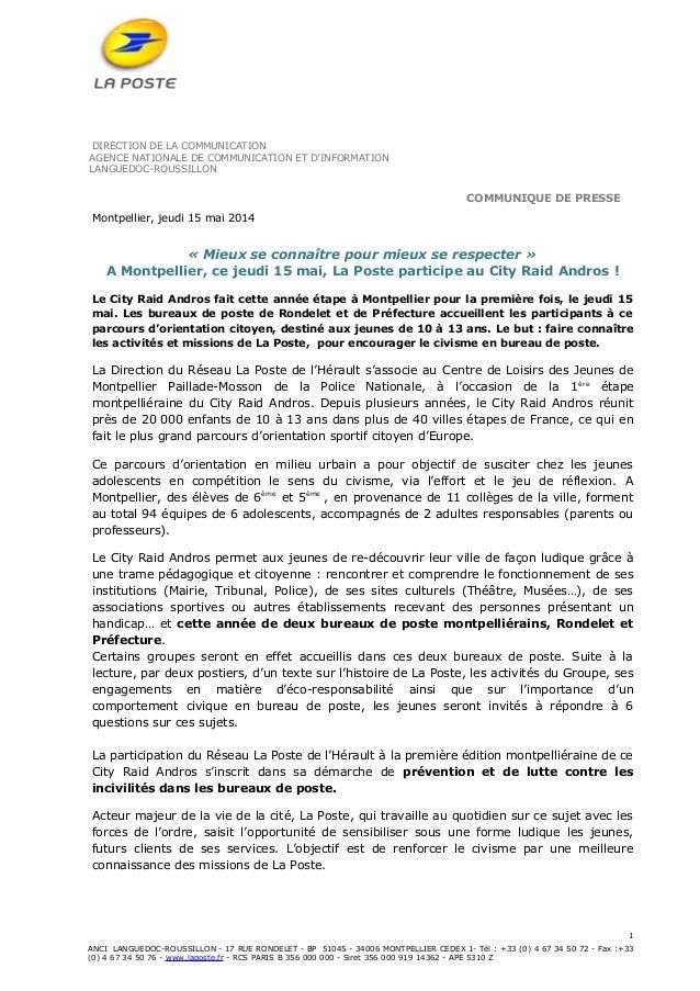 DIRECTION DE LA COMMUNICATION AGENCE NATIONALE DE COMMUNICATION ET D'INFORMATION LANGUEDOC-ROUSSILLON COMMUNIQUE DE PRESSE...