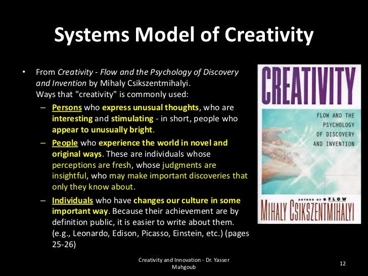 """A scientific definition•   Individual    Person who """"is"""" creative and is often associated    with the creativity.•   Domai..."""