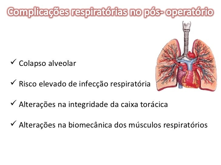 <ul><li>Colapso alveolar </li></ul><ul><li>Risco elevado de infecção respiratória </li></ul><ul><li>Alterações na integrid...