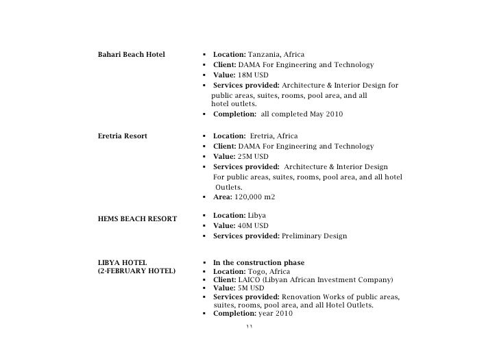 DESIGNERS Consultants CV Of Hotels Amp Resorts