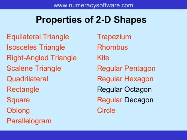www.numeracysoftware.com Properties of 2-D Shapes Equilateral Triangle Isosceles Triangle Right-Angled Triangle Scalene Tr...