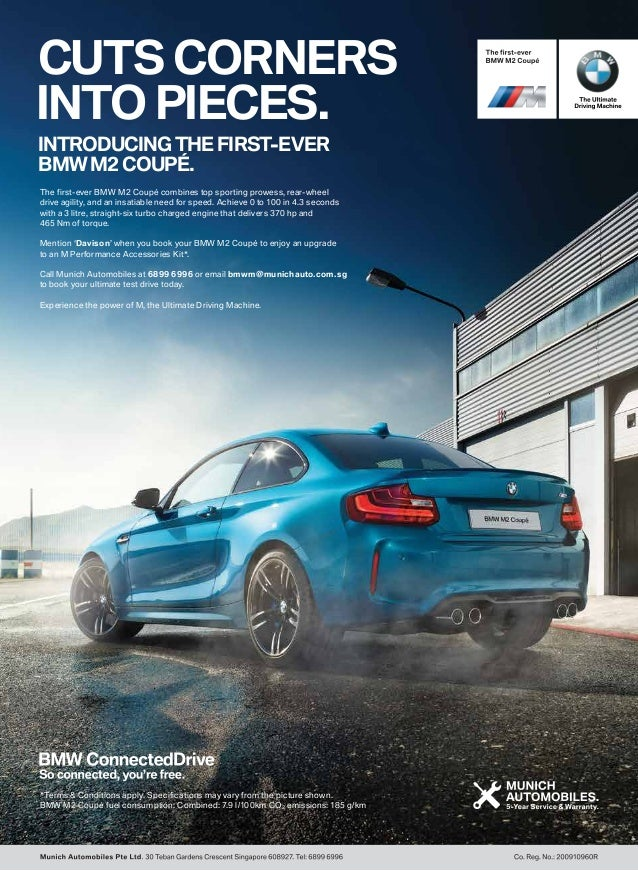 CUTS CORNERS INTO PIECES. INTRODUCING THE FIRST-EVER BMW M2 COUPÉ. The first-ever BMW M2 Coupé combines top sporting prowe...