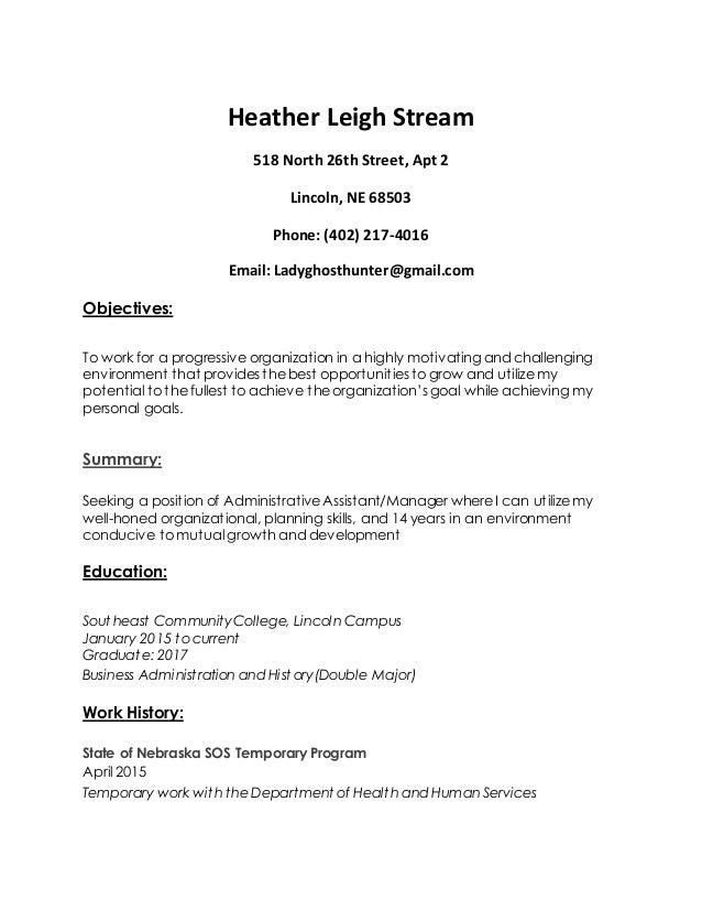Heather Leigh Stream 518 North 26th Street, Apt 2 Lincoln, NE 68503 Phone: (402) 217-4016 Email: Ladyghosthunter@gmail.com...