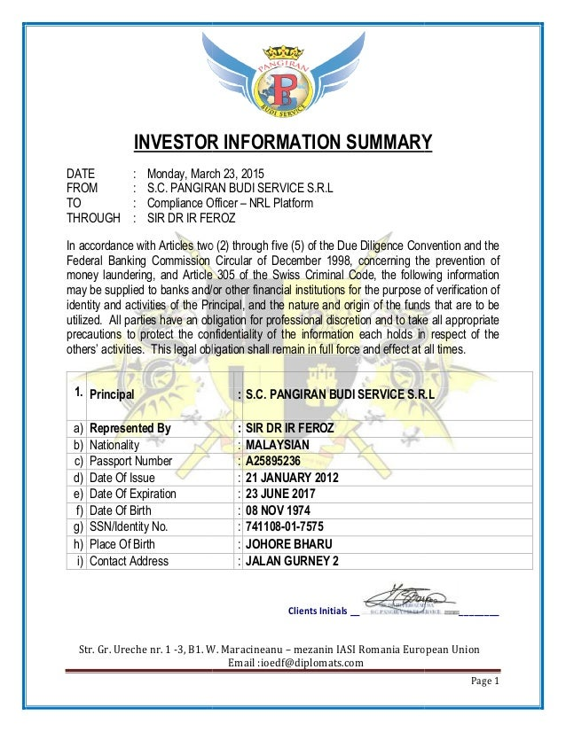 Str. Gr. Ureche nr. 1 -3, B1. W. Maracineanu INVESTOR INFORMATION SUMMARY DATE : Monday, March 23, 2015 FROM : S.C. PANGIR...