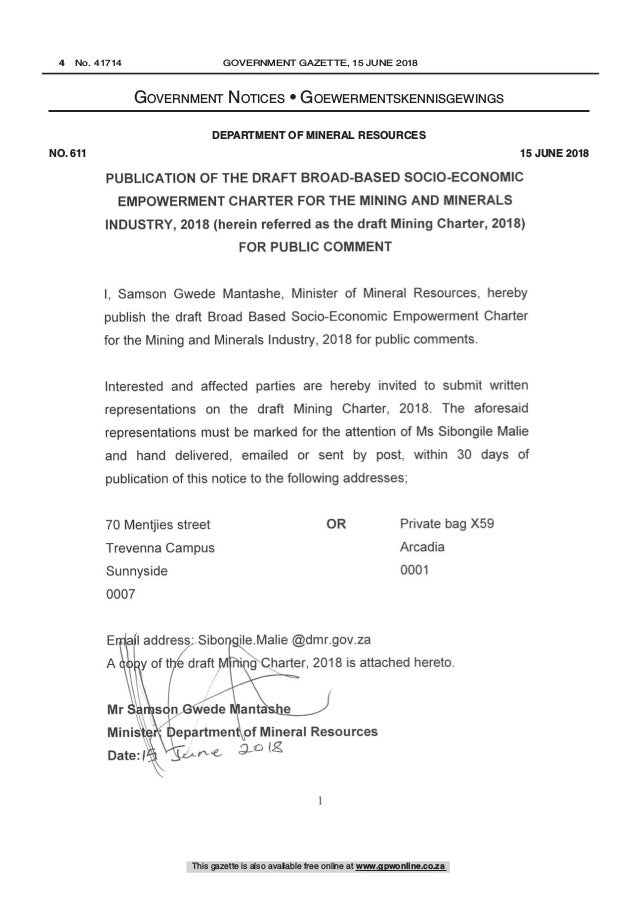 South African draft Mining Charter 2018