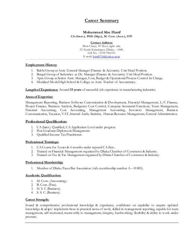 High Quality Career Summary Mohammad Abu Hanif CA (Inter.), PGD (Mgt.) Intended Cv Summary