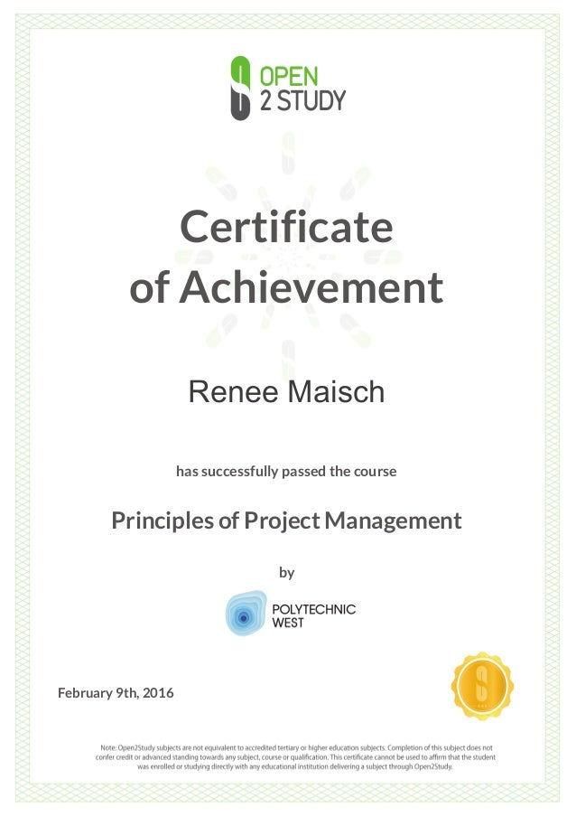 Polytechnic West Certificate Of Completion Principles Of Project Man