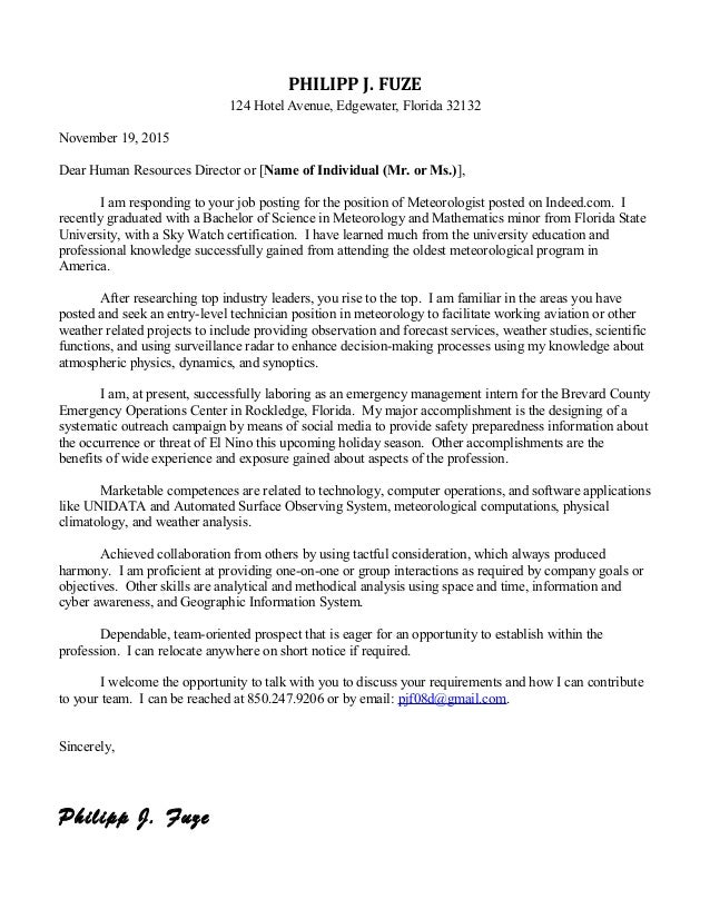 Cover Letter - Federal Jobs