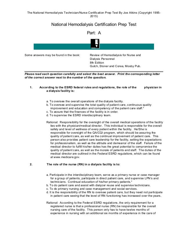 The National Hemodialysis Certification Prep Examination 2014