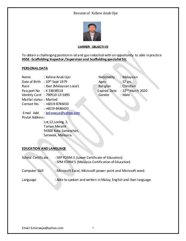 Keliew cv resume of keliew anak ujai emailkeliewajaiyahoo 1 carrer objective to urtaz Gallery