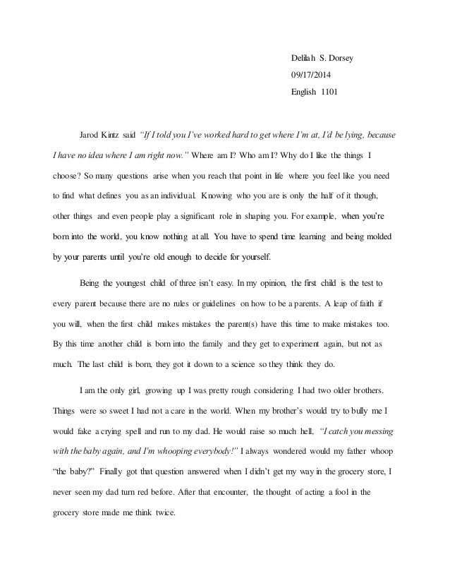 Identity Narrative Essay  English