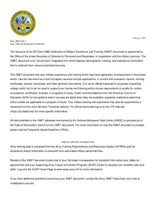 vmet cover letter
