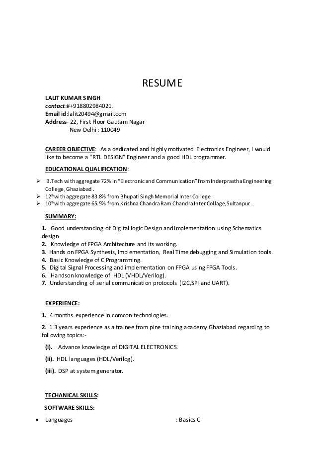 Lalit Singh FPGA resume