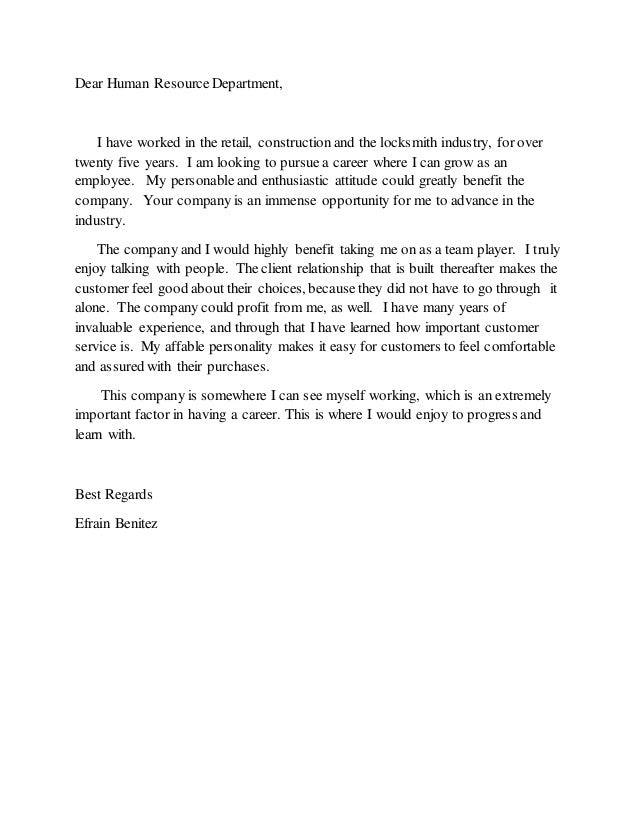 Dear human resource department for Dear human resources department cover letter