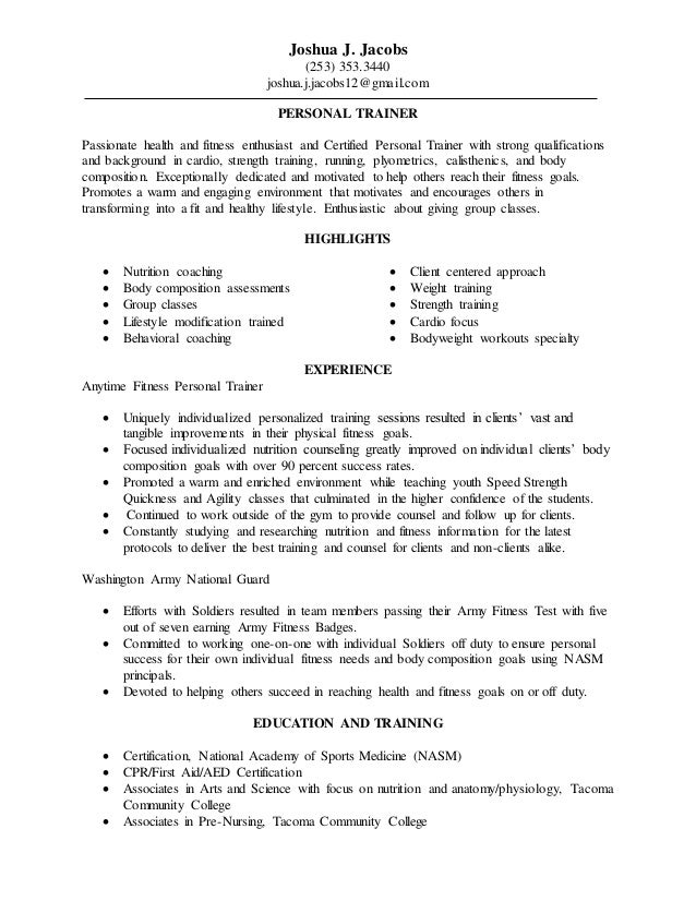 Personal Trainer Pt Ot Resume Updated