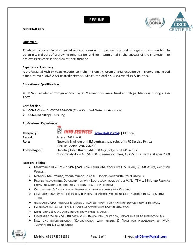 resume 5 exp in networking