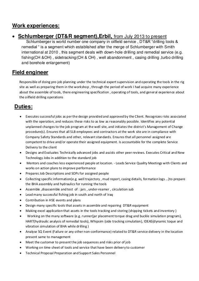 jolyan adhmat cv - Schluberger Field Engineer Sample Resume