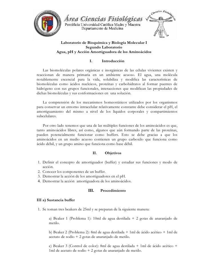 Laboratorio de Bioquímica y Biología Molecular I                            Segundo Laboratorio            Agua, pH y Acci...